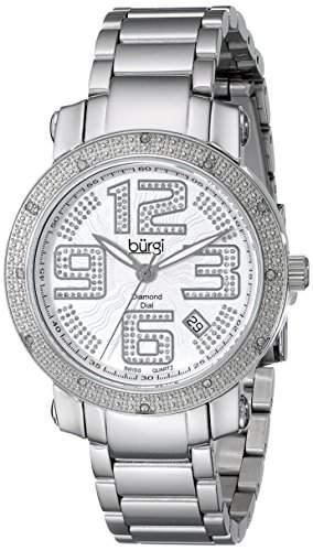Burgi Damen 365mm Silber Edelstahl Armband & Gehaeuse Mineral Glas Uhr BUR091SS
