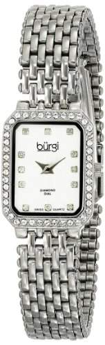 Burgi Damen-Armbanduhr Analog Display Japanisches Quarz-Silber
