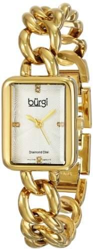 Burgi Damen-Armbanduhr goldfarbene Edelstahl mit Link Armband