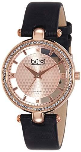 Burgi Damen-Rose Necklaces Halskette Diamant und Kristall Schwarz Satin Armbanduhr