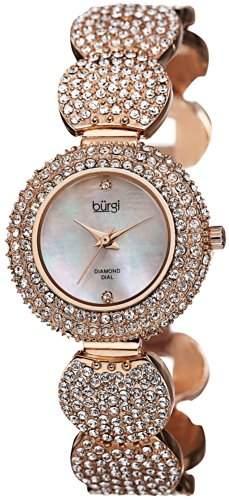 Burgi Damen-Armbanduhr crystal-accented Rose Armband goldfarben