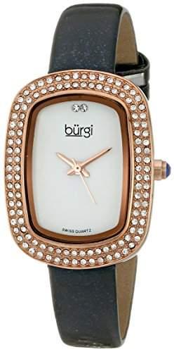 Burgi Damen-Armbanduhr Analog Display Swiss Quarz grau