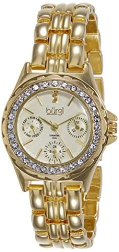 Burgi Damen-Armbanduhr Analog Display Quarz Gold
