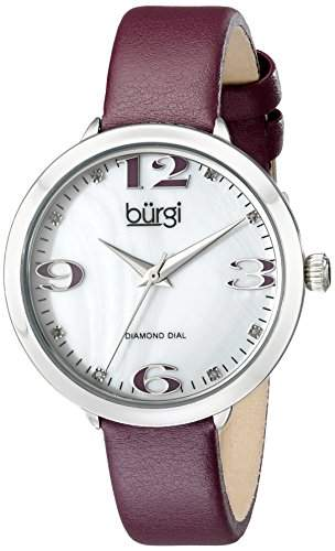Burgi Damen-Armbanduhr Analog-Display Japanisches Quarz-Violett