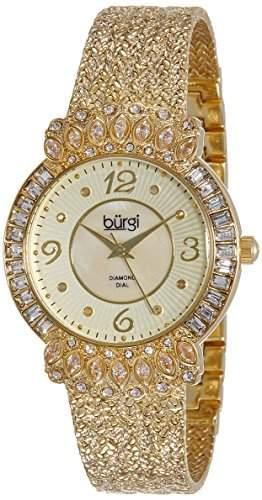 Burgi Damen Goldfarbene Armbanduhr mit strukturiertem Armband