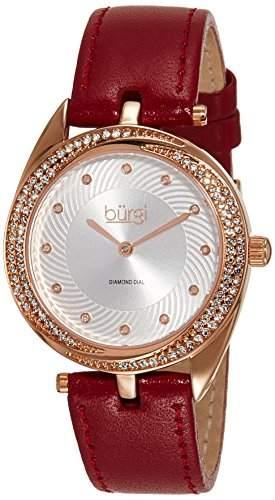 Burgi Damen 35mm Braun Leder Armband Metall Gehaeuse Mineral Glas Uhr BUR122BUR