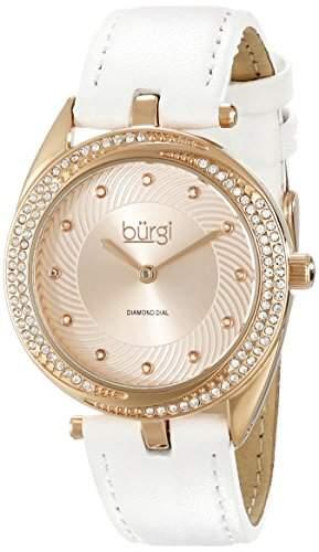 Burgi Damen-Armbanduhr Analog Display Japanisches Quarz-Weiss
