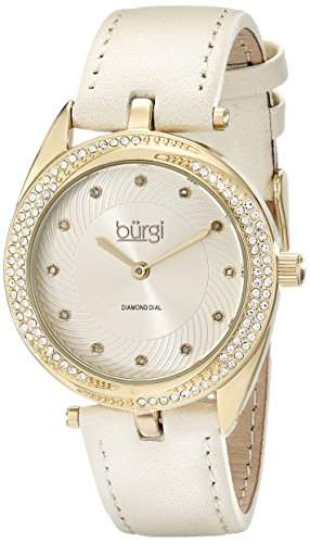 Burgi Damen-Armbanduhr Analog Display Japanisches Quarz-beige