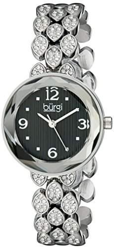 Burgi Damen 28mm Silber Metall Armband Metall Gehaeuse Mineral Glas Uhr BUR124SSB