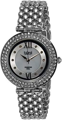 Burgi Damen-Armbanduhr Ladies Crystal Mop Bracelet Analog Quarz BUR126SS