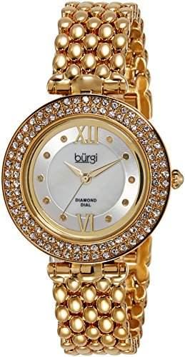 Burgi Damen-Weiss Rund Mother of Pearl Center Zifferblatt Drei Hand Quarzwerk Armbanduhr goldfarben