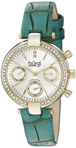 Burgi Damen-Armbanduhr Analog Display Swiss Quarz gruen
