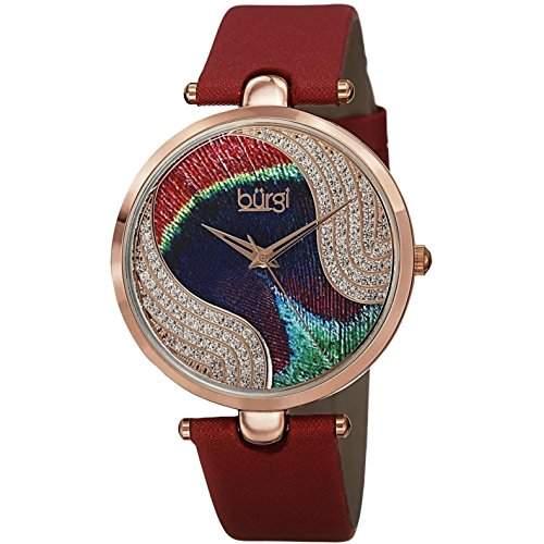 Burgi Damen 38mm Rot Leder Armband Metall Gehaeuse Mineral Glas Uhr BUR131RD