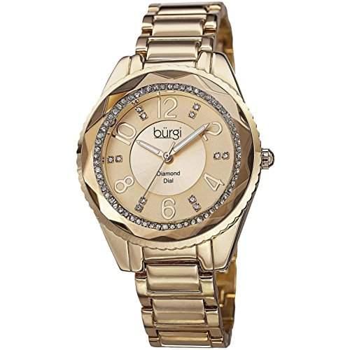 Burgi Damen 40mm Gold Metall Armband Metall Gehäuse Mineral Glas Uhr BUR132YG