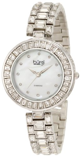 Burgi Damen Armbanduhr Perlmutt Diamant Armband