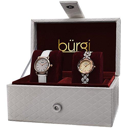 Burgi Damen bur133rg echten Kristallen Analog Display Armbanduhr Set