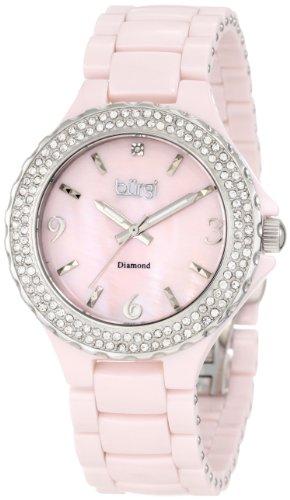 Burgi Damen Armbanduhr Diamant Keramik Perlmutt