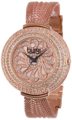 Burgi Damen Kristall Mesh Armband Armbanduhr