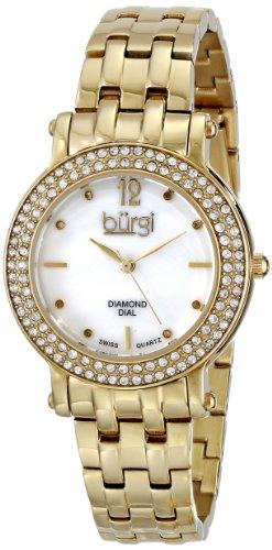 Burgi Damen Swiss Quarz Kristall Edelstahl Goldfarbene Armband Armbanduhr