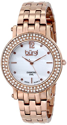 Burgi Damen Swiss Quarz Diamant Kristall Perlmutt rose tone Edelstahl Armband Armbanduhr