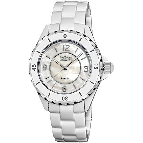 Burgi Damen 39mm Weiss Keramik Armband Keramik Gehaeuse Mineral Glas Uhr BUR057WT