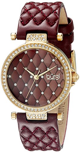 BURGI Damen Armbanduhr WomenS Burgundy Quilted Strap Watch With A Burgundy Quilted Dial With Crystals Gold Case With Crystals On The Lugs And Bezel AnalogQuarzBUR154BUR