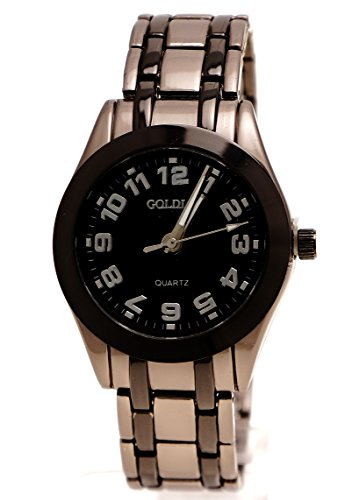 Edle Armbanduhr mit Kristallschliff Schwarz Grau