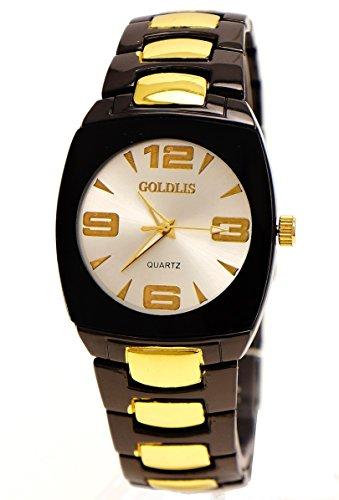 Edle Armbanduhr Schwarz Gold Stahl