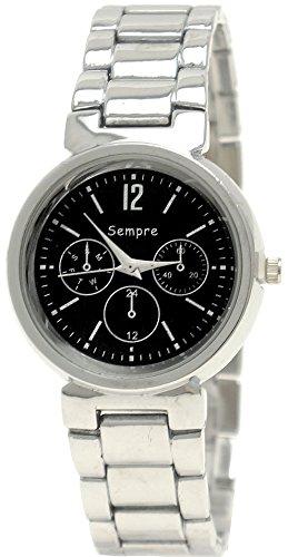 Klassische Damen Chrono Uhr in Silber Schwarz