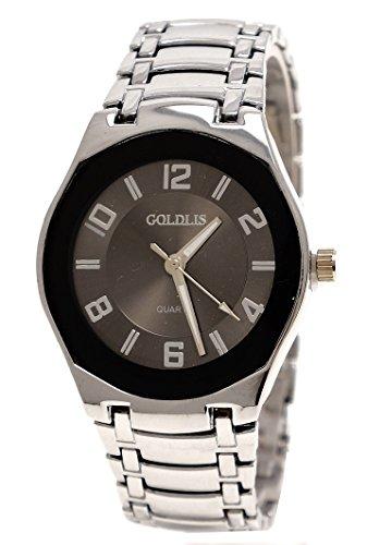 Super flache Armbanduhr Silber dunkles Ziffernblatt