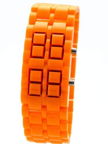 New Kids BU294 LED POWER UHR fuer Herren $ Damen NEON ORANGE G89