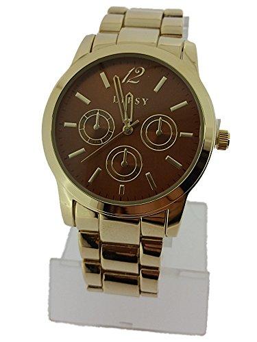 Damen Lipsy Armbanduhr LP335 in Gold Ton mit Bronze Zifferblatt und Faux Multi Zifferblatt