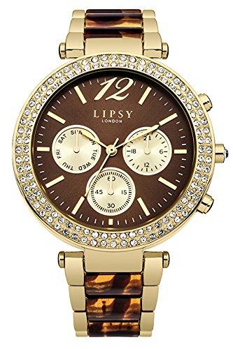 Lipsy Damen Quarz Uhr mit Braun Zifferblatt Analog Anzeige und zweifarbigem Armband Legierung LP467