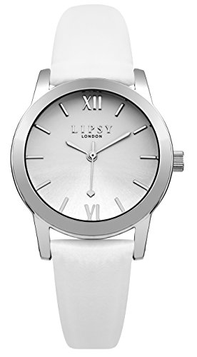 Lipsy slp004 W Damen Silber Zifferblatt Weiss Leder Armbanduhr