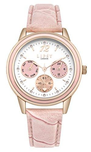 Lipsy slp006p Damen Pink Multi Zifferblatt Pink Leder Strap Armbanduhr