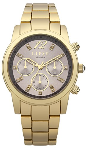 Lipsy Damen Quarz Uhr mit Braun Zifferblatt Analog Anzeige und Gold Andere Armband lp391