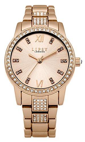 Lipsy Damen Quarzuhr mit Rose Gold Zifferblatt Analog Anzeige und Rose Gold Legierung Armband LP464