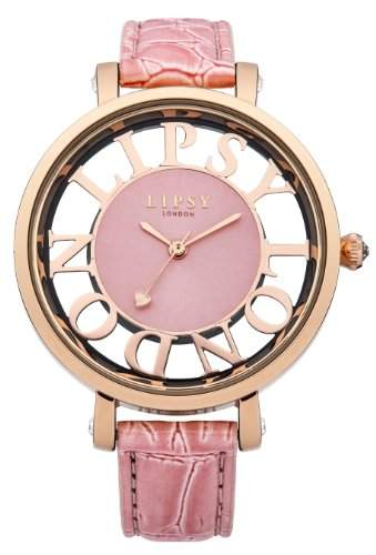 Lipsy Damen Quarzuhr mit Rosa Zifferblatt Analog Display und Pink PU Strap lp215