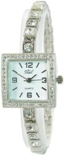 Pearl Damenuhr Weiss Silber Analog Metall Armbanduhr Strass Mode Schmuck Uhr