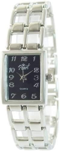 Pearl Damenuhr Schwarz Silber Analog Metall Armbanduhr Mode Schmuck Uhr