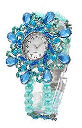 tuerkis perlen Flex Armband Retro Design elegante Perlen Designer Schmuck alle Groessen mit flexiblem Armband Flower Pearl tuerkis 1918