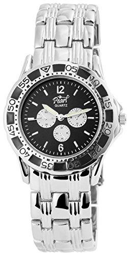 Pearl Damenuhr mit Metallarmband Armbanduhr Uhr Schwarz 100421000088