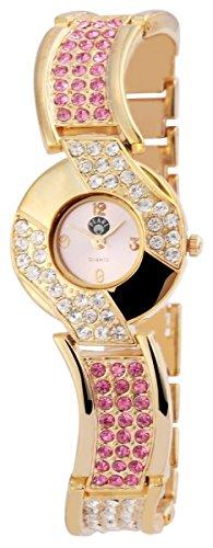 Damen Analog Armbanduhr mit Quarzwerk 100405500315 und Metallgehaeuse mit Metallarmband in Goldfarbig und Clipverschluss Ziffernblattfarbe Rosa Bandgesamtlaenge 20 cm Armbandbreite 14 mm