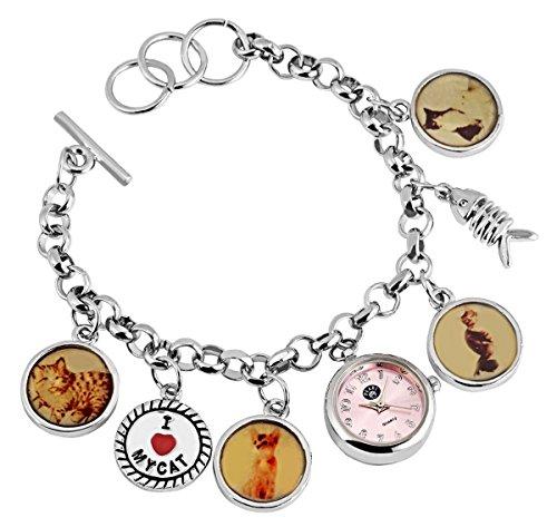 Damen Analog Armbanduhr mit Quarzwerk 100425500362 und Metallgehaeuse mit Metallkettenarmband in Silberfarbig und Knebelverschluss Ziffernblattfarbe Rosa Bandgesamtlaenge 18 cm Armbandbreite 7 mm