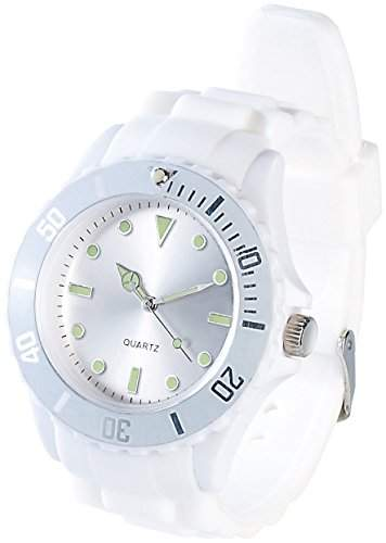 PEARL Silikon Armbanduhr weiss