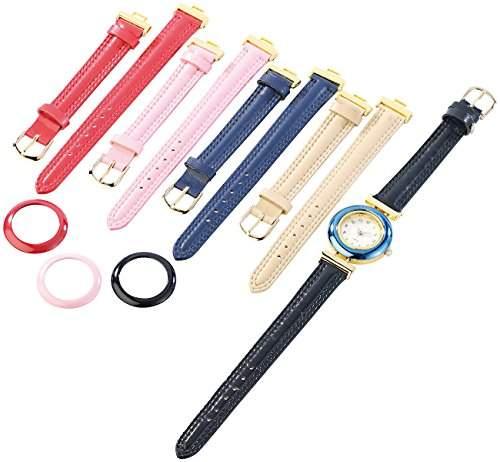 PEARL Damenuhr mit 5 farbigen Wechsel-Armbaendern