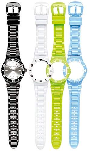 PEARL Armbanduhr mit 4x Wechsel-Gehaeuse und Armbaendern