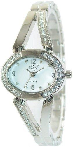 Pearl Damenuhr Weiss Silber Analog Metall Quarz Armbanduhr Strass Schmuck Mode Trend Uhr