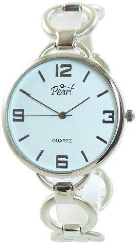 Pearl Damenuhr Weiss Silber Analog Metall Quarz Armbanduhr Schmuck Mode Trend Uhr