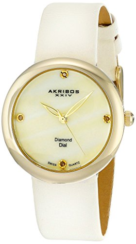 Akribos XXIV Damen makellose Swiss Quarz Diamant Perlmutt Satin Armbanduhr